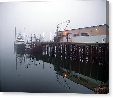 Night Fog Along The Dock Canvas Print by Bob Orsillo