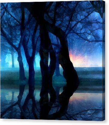 Night Fog In A City Park Canvas Print by Francesa Miller