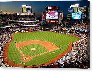 Night Game At Citi Field Canvas Print by James Kirkikis