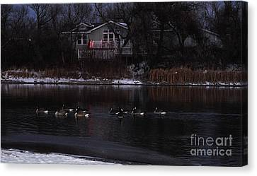 Night Geese On The Water Canvas Print