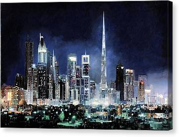 night in Dubai City Canvas Print by Guido Borelli