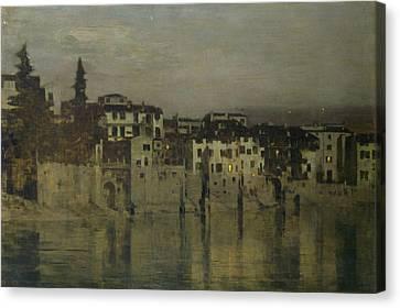 Night In Verona Canvas Print by Bartolomeo Bezzi