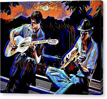 Canvas Print featuring the digital art Night Jammin by Pennie  McCracken