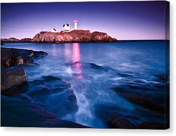Nubble Lighthouse Canvas Print - Night Light by Charlie Widdis