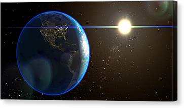 Night Lighted Earth From Space  Canvas Print