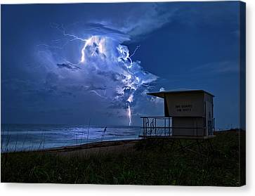 Night Lightning Under Full Moon Over Hobe Sound Beach, Florida Canvas Print by Justin Kelefas