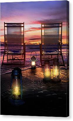 Canvas Print featuring the photograph Night Lights At Sunset by Debra and Dave Vanderlaan