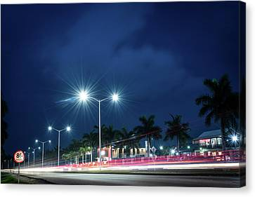 Night Lights In Montego Bay City Canvas Print