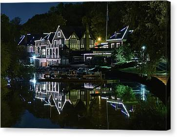 Night Lights Of Boathouse Row Canvas Print by Frozen in Time Fine Art Photography