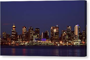 Night Lights Of Downtown Vancouver Canvas Print by Mark Duffy
