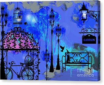 Oil Lamp Canvas Print - Night Love Garden  by Prar Kulasekara