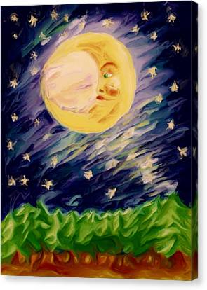 Canvas Print featuring the painting Night Moon by Shelley Bain