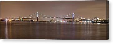 Night On The Delaware - The Benjamin Franklin Bridge Canvas Print by Bill Cannon