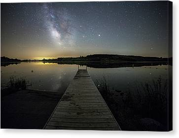 Canvas Print featuring the photograph Night On The Dock by Aaron J Groen