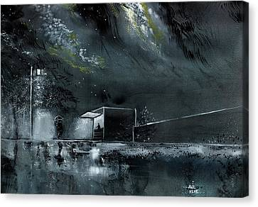 Canvas Print featuring the painting Night Out by Anil Nene