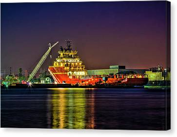 Shrimp Boat Canvas Print - Night Overhaul by Marvin Spates