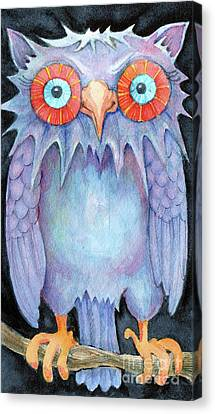 Canvas Print featuring the painting Night Owl by Lora Serra