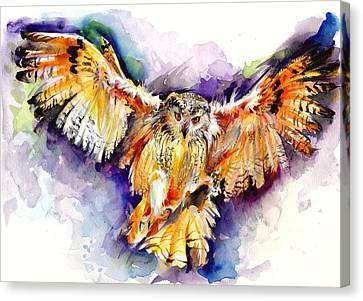 Blau Canvas Print - Night Owl Watercolor, Hunting Owl, Flying Brown Owl by Tiberiu Soos