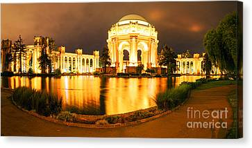 Night Panorama Of Palace Of Fine Arts Theater In Marina District - San Francisco California Canvas Print by Silvio Ligutti