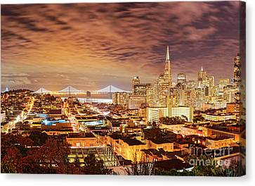 Night Panorama Of San Francisco And Oak Area Bridge From Ina Coolbrith Park - California Canvas Print by Silvio Ligutti