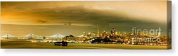 Night Panorama Of San Francisco Skyline With Oakland Bay Bridge - San Francisco California Canvas Print by Silvio Ligutti