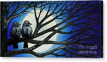 Canvas Print featuring the painting Night Perch by Michael Frank
