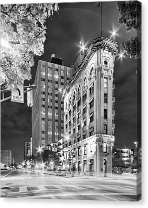 Night Photograph Of The Flatiron Or Saunders Triangle Building - Downtown Fort Worth - Texas Canvas Print by Silvio Ligutti