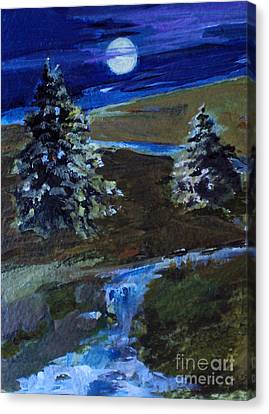 Night Pines Canvas Print by Diane Ursin