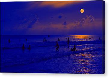 Night Play At The Beach Canvas Print