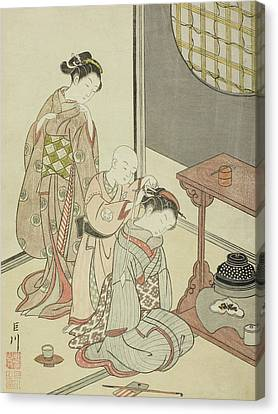 Night Rain Of The Tea Stand Canvas Print by Suzuki Harunobu