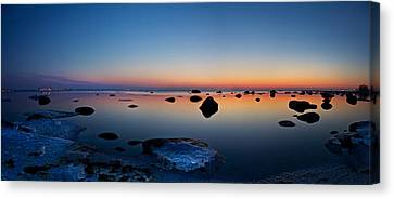 Night Reflections Seascape After Sunset Panorama Canvas Print by Sandra Rugina