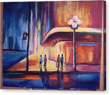 Night Scene Canvas Print by Annette Kagy