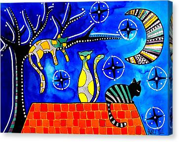 Canvas Print featuring the painting Night Shift - Cat Art By Dora Hathazi Mendes by Dora Hathazi Mendes