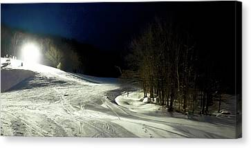 Canvas Print featuring the photograph Night Skiing At Mccauley Mountain by David Patterson