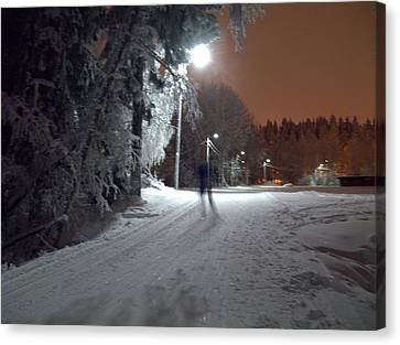 Canvas Print featuring the photograph Night Skiing by Sami Tiainen