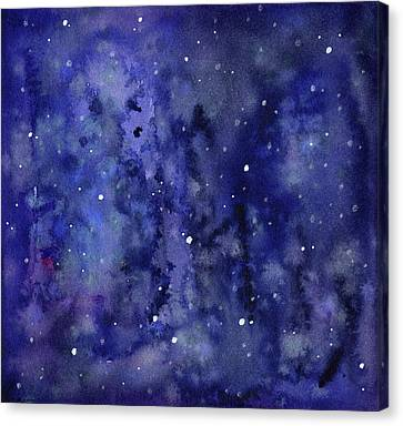 Night Sky Watercolor Galaxy Stars Canvas Print by Olga Shvartsur