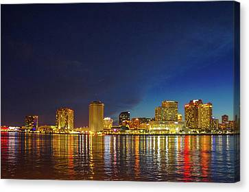 River Canvas Print -  Night Skyline Of New Orleans by Art Spectrum