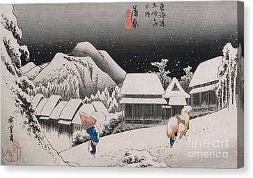 Night Snow Canvas Print by Hiroshige