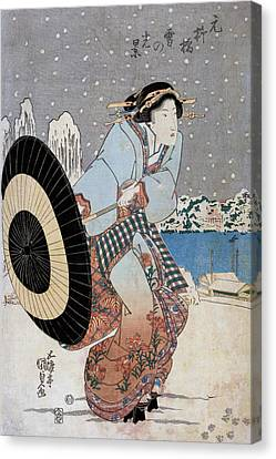 Night Snow Scene At Motonoyanagi Bridge Canvas Print by Utagawa Toyokuni