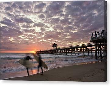 Night Surfing Canvas Print by Gary Zuercher