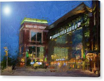 Canvas Print featuring the digital art Night Time Lambeau by Joel Witmeyer