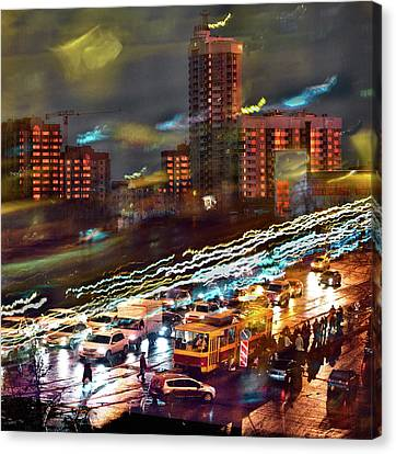 Canvas Print featuring the photograph Night Traffic by Vladimir Kholostykh