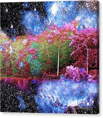 Night Trees Starry Lake Canvas Print by Saundra Myles