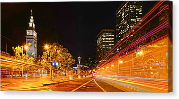 Canvas Print featuring the photograph Night Trolley On Time by Steve Siri