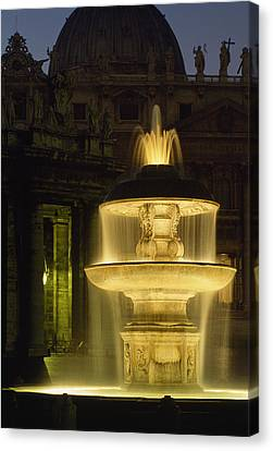 Night View Of A Fountain Outside Saint Canvas Print by James L. Stanfield