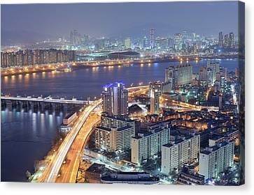Night View Of Seoul Canvas Print