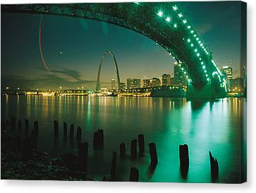 Night View Of St. Louis, Mo Canvas Print by Michael S. Lewis