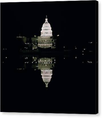 Night View Of The Capitol Canvas Print by American School
