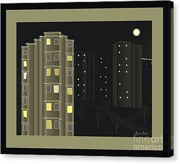 Abstract Digital Canvas Print - Night View - When I Smoke by Michael Mirijan