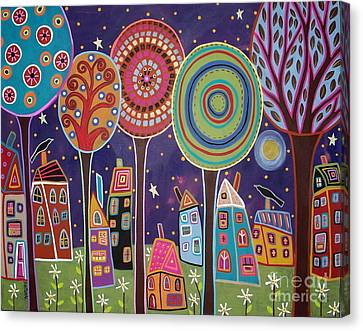 Primitive Art Canvas Print - Night Village by Karla Gerard